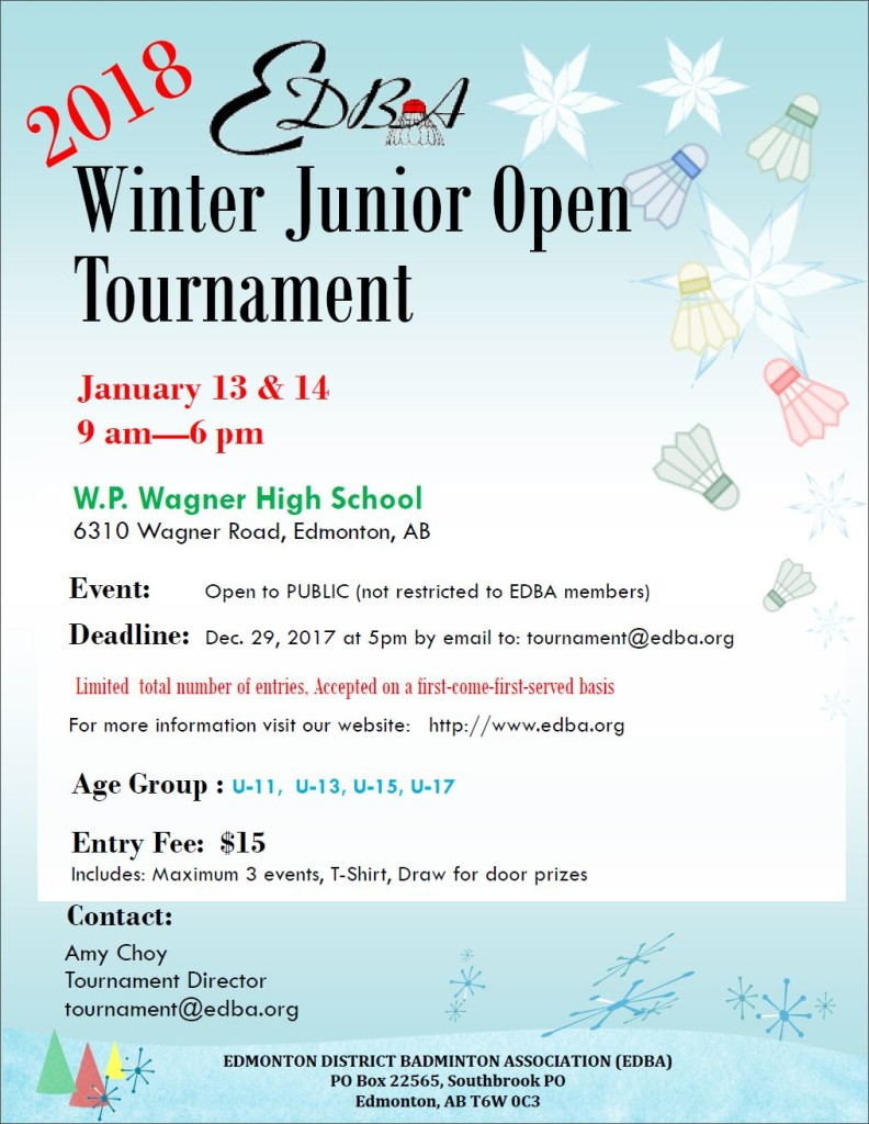 2018 EDBA Junior Open - Poster