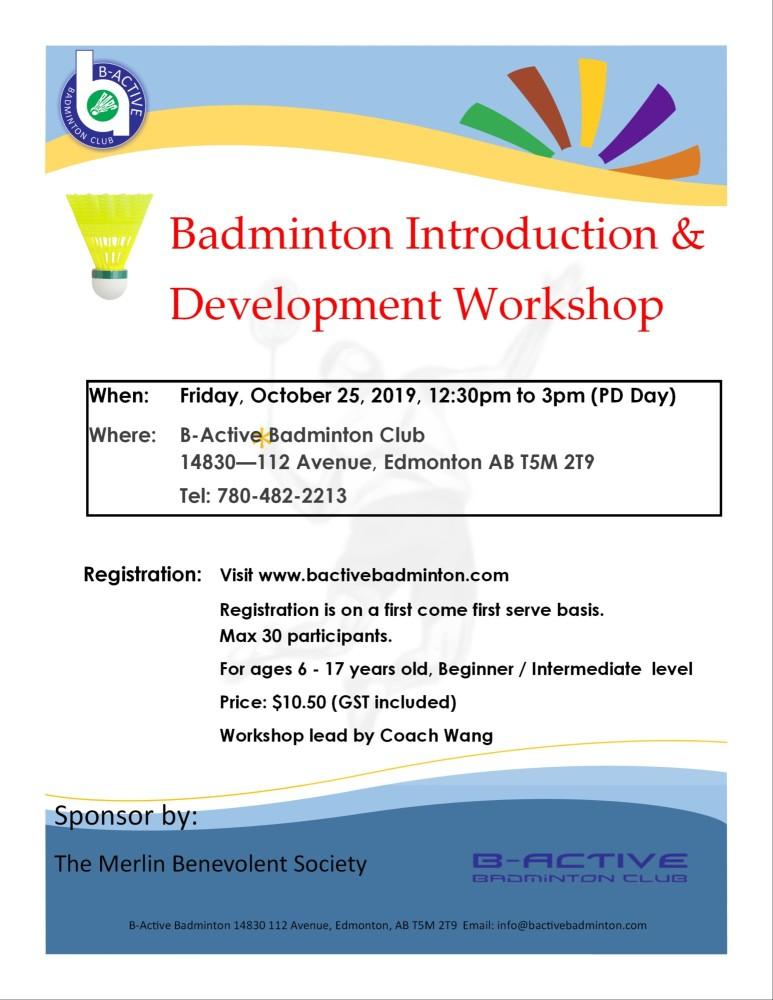 B-Active Badminton Intro & Dev Youth 2019